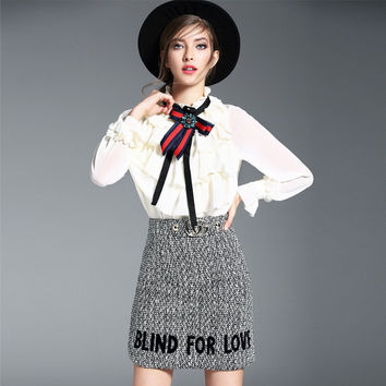 Grey Skirt High Waist Two Pieces Outfit