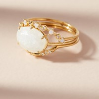 Moonstone Dreamer Ring Set
