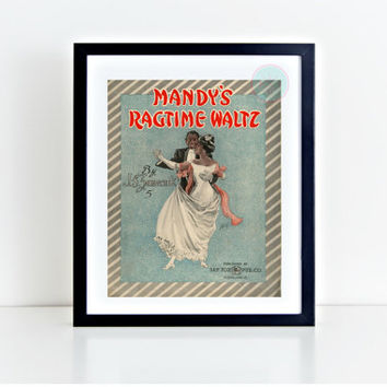 "Vintage Printable, ""Mandy's Ragtime Waltz"", Vintage Movie Poster, Theater Print, African American Art, Instant Download, Vintage Art"