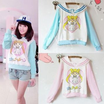 Sailor Moon Harajuku Mercur Sweater Cosplay Costume Uniform Sweatshirt Girls Pink/Blue Hoodie Tops