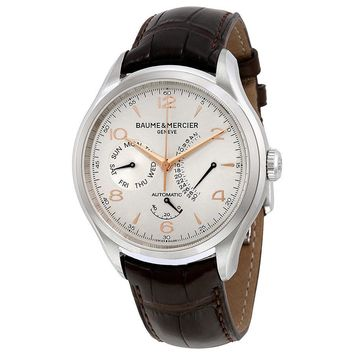 Baume and Mercier Clifton Silver Dial Brown Leather Mens Watch MOA10149