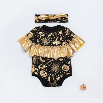 Halloween Black Newborn Kid Jumpsuit Bubble Sleeves Ruffled Gold Pumpkin Prints Romper +Bow Headband suit Baby Girls clothes set