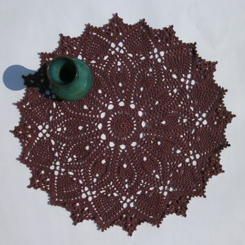 Big brown crochet doily 17.5 inches Round doily Chocolate crochet doily Large lace doily Crochet table topper Brown home decor Centerpiece