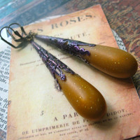 mustard yellow and eggplant purple vintage lucite earrings enameled filigree