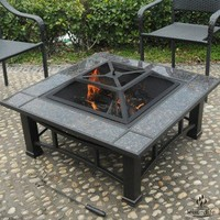 Square Fire Pit with Granite Surround and Cover - 34""