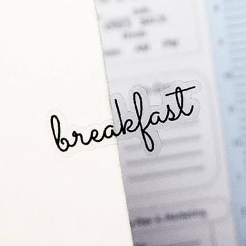 Clear Breakfast Stickers, Clear Planner Stickers, Clear Word Stickers, Transparent Stickers, Meal Stickers, Meal Plan Stickers, Lunch (p061)