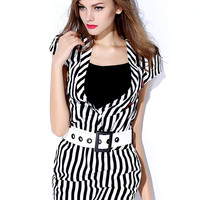 Vertical Stripe Short-Sleeve Bodycon Dress With Belt