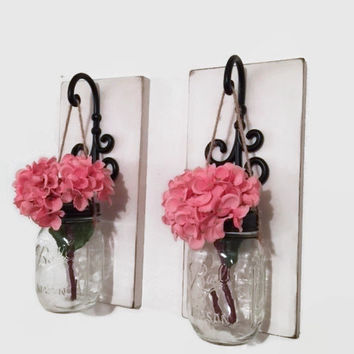 Set of TWO Mason Jar Sconces/Wood Wall Decor/ Farmhouse Decor/Distressed Cottage Decor/Hanging Mason Jar/ Hanging Flowers/Rustic Farmhouse