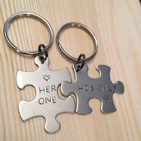 Hand Stamped Personalized puzzle piece keychain stainless steel her one his only couples his and her key chain gift jewlery