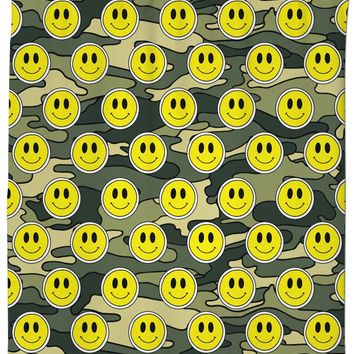Smiley Green Camo Shower Curtain