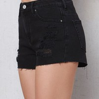 PacSun Night Shift Ripped High Rise Cutoff Denim Shorts at PacSun.com