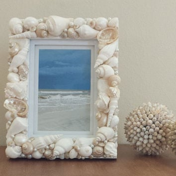 Shell Frame, Seashell Frame, White / Ivory / Beige, Beach, Costal Decor, Nautical Decor, Beach Wedding