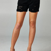 Black DISTRESSED BOYFRIEND SHORTS