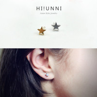 16g Small mini Star Barbell Ear Piercing Stud, cartilage earrings, tragus helix conch piercing / Sold as piece