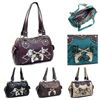 Western Rhinestone Six Shooter Barrel Shoulder Bag With Floral T - $52.95 : Endless Xpressions, Where the possibilities are Endless.