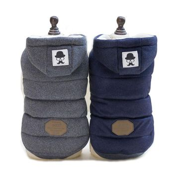 New Mustache Hooded Style Pet Dog Thick warm Winter Coat Clothes S- XXL Dog Coat Dogs Clothes C68