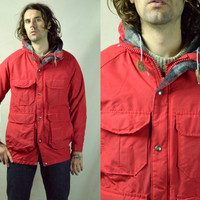 Vintage 70's Woolrich 60/40 Mountaineer Red Anarak Hooded Parka Jacket