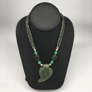 "61.6g,Double-Strand Green Nephrite Jade Beaded Carved Pendant Necklace,24"" NPH35"