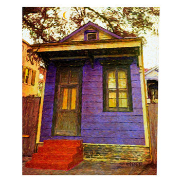 New Orleans Purple Shotgun House Moon Giclee Print 8x10 11x14 16x20 - Nightime in the Bywater - Korpita