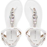 New Look Gemma White Embellished Toe Post Flat Sandals