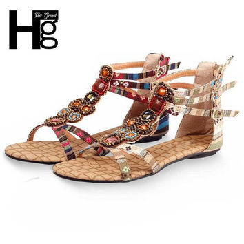 HEE GRAND Summer Style Ethnic Women Sandals 2017 Bohemian Fashion Beading Pu Printed Casual Flats For Woman XWZ797