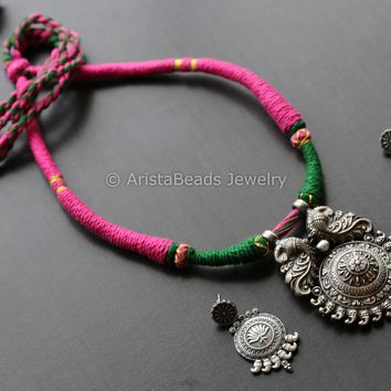 Tribal Pink & Green Thread Necklace