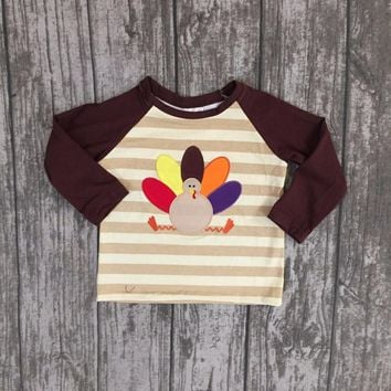 new baby boys Fall boutique top t-shirts children clothes brown stripe long sleeve cotton raglans turkey thanksgiving day gift