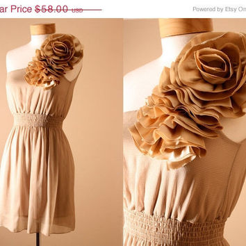 SALE End of Summer Ruffle // Tiered, Flower, Formal, Evening Dress, Summer Dress, Off Shoulder, Sundress in Hazelnut (S,M)