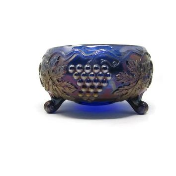 Antique Carnival Glass Northwood Or Fenton Grape & Cable Bowl 3 Footed Blue