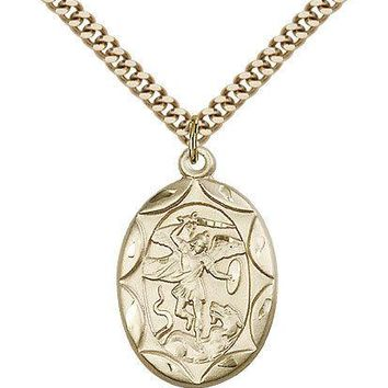 "Saint Michael The Archangel Medal For Men - Gold Filled Necklace On 24"" Chain... 617759798753"