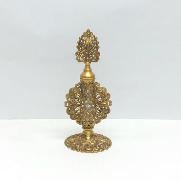 Vintage French Ormolu Perfume Bottle Filigree Gold Gilted Bronze with Glass Dauber