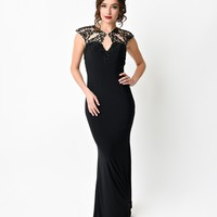 1930s Style Black Beaded Jersey Cape Fitted Long Dress