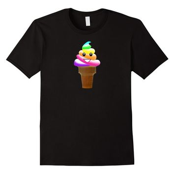 Rainbow Poop Emoji Ice Cream Emoticon Tee Shirt