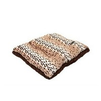 Square Pillow Bed — Snow Leopard + Chocolate Shag