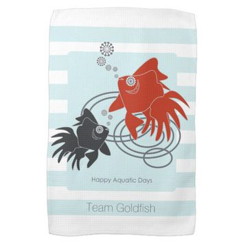 Happy Aquatic Days Cute Goldfish Light Blue Stripe Kitchen Towel