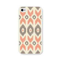 Peach Geometric Ikat Apple iPhone 4 Case - iPhone 4 Cover - Tribal Southwest iPhone 4 Skin - Coral Cream Cell Phone