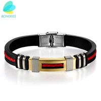 Boniskiss Gold Fashion Punk Leather Rope Men Bracelets & Bangles High Quality Stainless Steel Charm Silicone Bracelet For Male