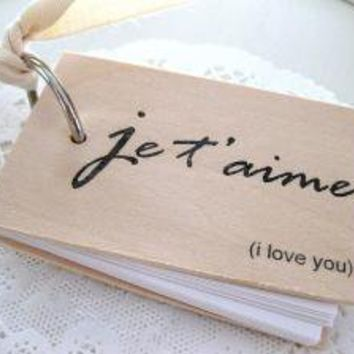 3 in x 2 in Wood Mini Notepad je t'aime  i love by quotesandnotes