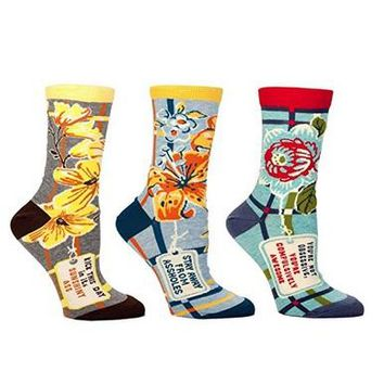 Flowers and Cusses Women's Crew Socks Gift Set - 3 Pack