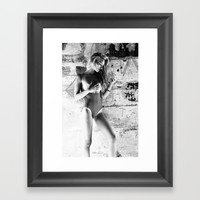 Beautiful Blonde Girl in Topless Swimsuit Framed Art Print by OCcreates