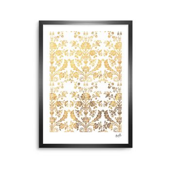 "KESS Original ""Baroque Gold"" Abstract Floral Framed Art Print"