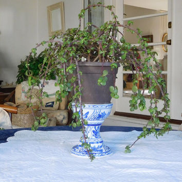 Vintage Cobalt Blue Candle Holder Plant Stand Bohemian Decor