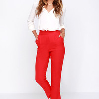 Trouser We Go Red High-Waisted Pants