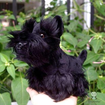Black Schnauzer Dog Stuffed Animal Plush Toy 7""