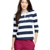 Women's Red Fleece Striped Three-Quarter Sleeve Rugby Shirt | Brooks Brothers