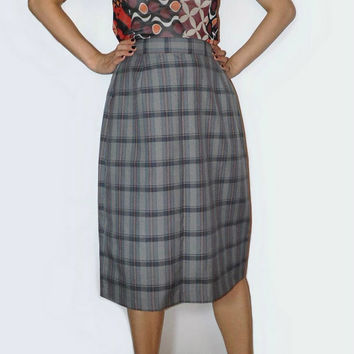Mint gray plaid skirt Women suit skirt  Gray Office skirt Gray tartan skirt Sophisticated skirt High waist skirt