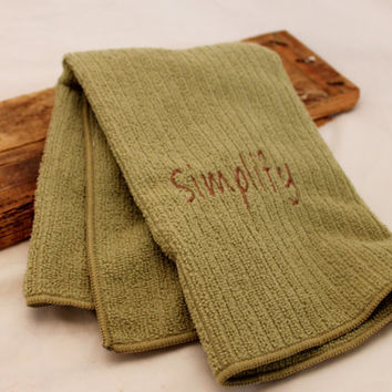 Simplify, Olive Embroidered Microfiber Kitchen Hand Towel