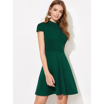 Openwork butterfly solid color dress