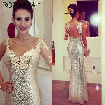Long Beaded  Formal Prom Party Dresses Wedding Gown Gold Sequins One Sleeve Dress
