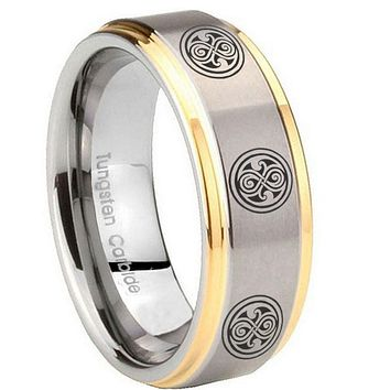 8MM Step Edges Multiple Doctor Who 14K Gold IP Tungsten 2 Tone Laser Engraved Ring